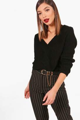 boohoo Hayley V Neck Crop Jumper