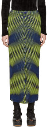 Issey Miyake Yellow and Navy Aurora Oval Skirt