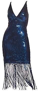 Dress the Population Women's Frankie Sequin Fringe Sheath Dress