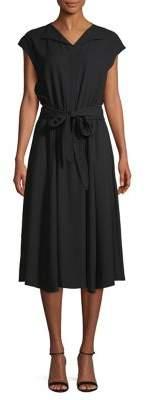 Anne Klein Cap-Sleeve Self-Tie Midi Dress