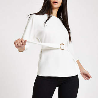 River Island Womens White belted tunic top