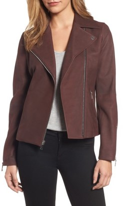 Women's Tahari Skylar Leather Moto Jacket $378 thestylecure.com