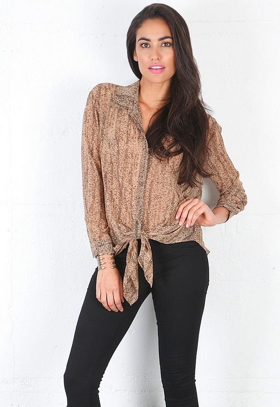 Rory Beca Dol Long Sleeve Blouse with Front Tie -