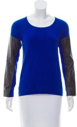 Aiko Leather-Trimmed Lightweight Sweater