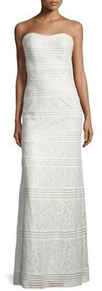 La Femme Strapless Sweetheart Lace Column Gown $398 thestylecure.com