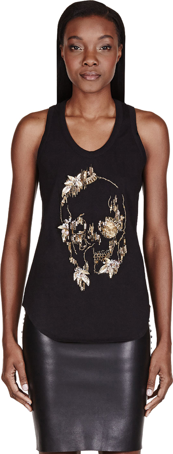 Alexander McQueen Black Embellished Abstract Skull Tank Top