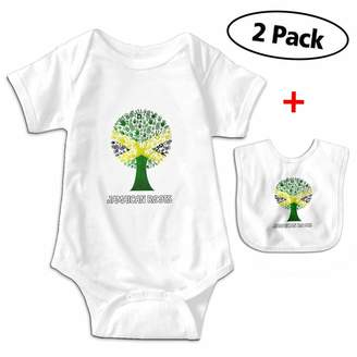 Leopoldson Jamaican Roots Jamaica Flag Tree Baby Bodysuits Short Sleeve Infant Jumpsuit with Baby Bib
