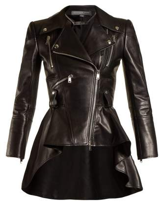 Alexander McQueen Waterfall Peplum Hem Leather Jacket - Womens - Black