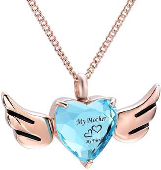 Keepsake Yinplsmemory My Mother My Friend Heart Angel Wing Cremation Urn Necklace Ashes