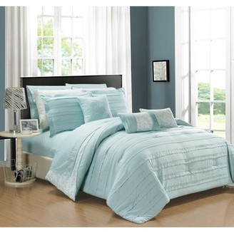 Chic Home 10-Piece Zarina Complete ruffles and Reversible Printed Queen Bed In a Bag Comforter Set Aqua Sheets Included
