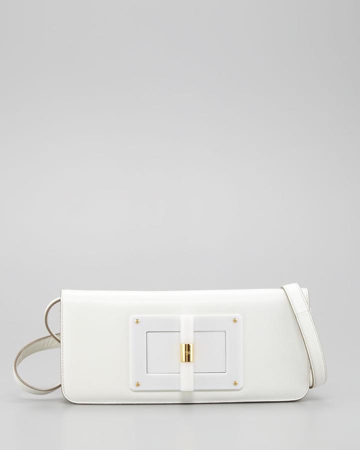 Tom Ford Natalia East-West Turnlock Leather Shoulder Bag, Ivory
