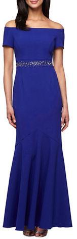 Alex EveningsAlex Evenings Beaded Waist Off-The-Shoulder Dress