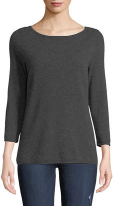 Neiman Marcus Basic Cashmere Boat-Neck Pullover Sweater, Gray