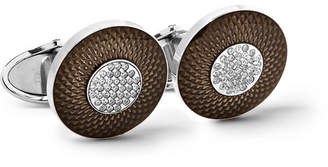 Dunhill Sterling Silver, Enamel And Diamond Cufflinks