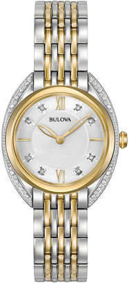 Bulova Womens Two Tone White Dial Diamonds Collection Bracelet Watch 98R229 $412.50 thestylecure.com