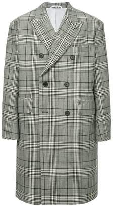Calvin Klein checked double-breasted coat
