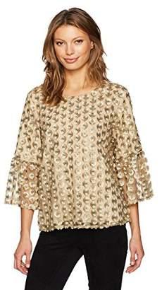 Calvin Klein Women's Embroidered Net Bell Sleeve Top