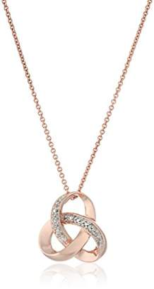 14K Rose Gold over Sterling Silver Diamond Knot Pendant Necklace