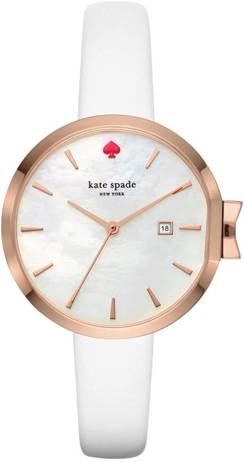 Kate Spadekate spade new york Women's Park Row White Leather Strap Watch 34mm KSW1270