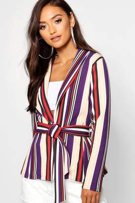 boohoo Petite Striped Belted Blazer