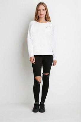 FOREVER 21+ Dolman-Sleeve Distressed Sweatshirt $19.90 thestylecure.com