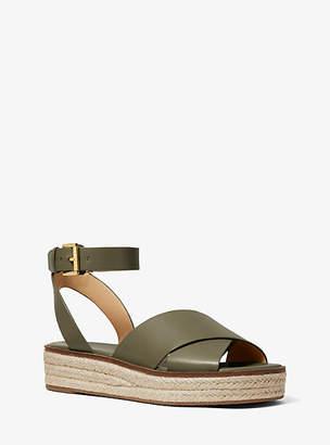 Michael Kors Abbott Leather Espadrille Sandal