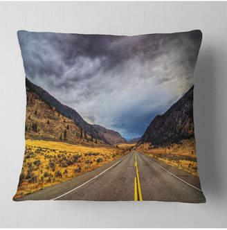 "Columbia Designart Mountain Desert Highway British Landscape Printed Throw Pillow - 18"" X 18"""
