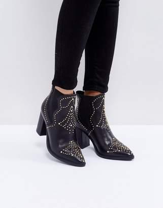 Steve Madden Himmel Leather Studded Heeled Boots