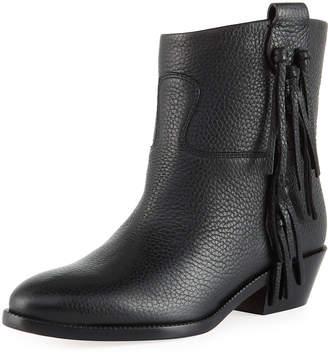 Valentino Tassel-Side Pebbled Leather Western Booties