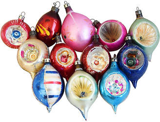 One Kings Lane Vintage Fancy Glitter Christmas Ornaments Set of 12