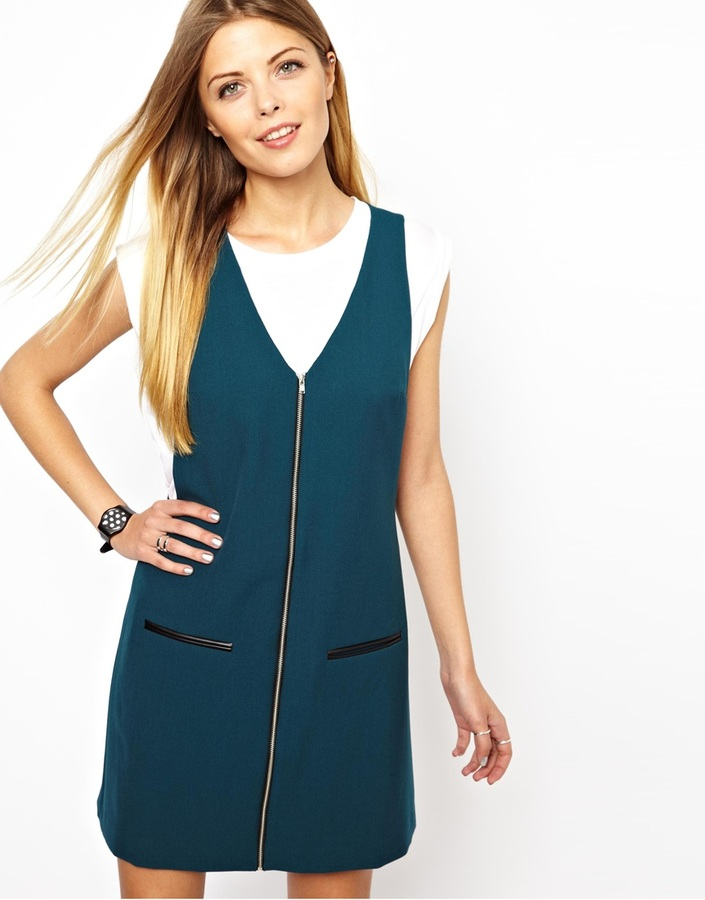 Asos Shift Dress with Zip Front