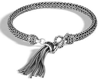John Hardy Classic Chain Bracelet with Black Sapphire & Spinel Tassel