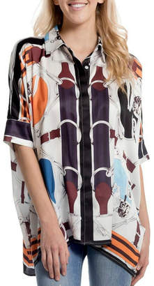 Gracia Oversized Satin/print Shirt
