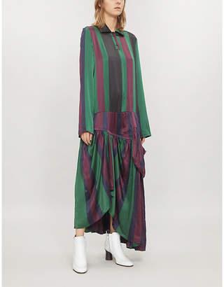J.W.Anderson Drop-waist striped silk-satin midi dress