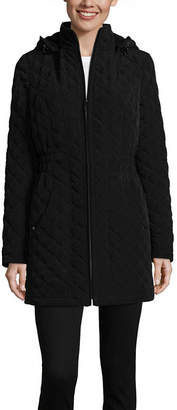 Liz Claiborne Hooded Lightweight Quilted Jacket-Tall