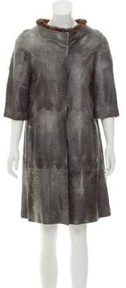 Prada Mink Fur-Trimmed Broadtail Coat