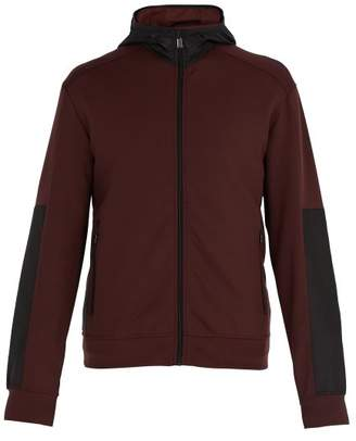 Prada Hooded Shell Panelled Jersey Jacket - Mens - Burgundy Multi