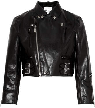 Cropped Faux Patent-leather Biker Jacket - Black