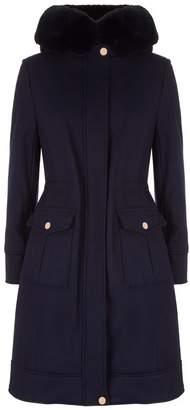 Ted Baker Aniyah Fur Hooded Wool Coat