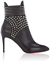 Christian Louboutin Women's Spike-Embellished Leather Ankle Boots-Black