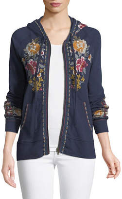 Johnny Was Cherelle Zip-Front Embroidered Hoodie