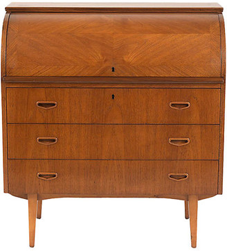 One Kings Lane Vintage 1960's Danish Teak Wood Roll Top Desk - Castle Antiques & Design