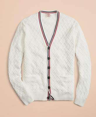 Brooks Brothers Cotton V-Neck Tennis Cardigan