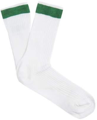 Valentino Ribbed Silk Blend Socks - Womens - White Multi