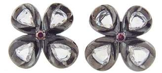 Couture Sethi Rose Cut Flower Button Stud Earrings