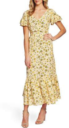 CeCe Moroccan Tile Ruffle Trim Maxi Dress