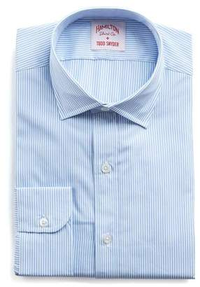 Hamilton Blue and White Bengal Stripe Poplin Shirt
