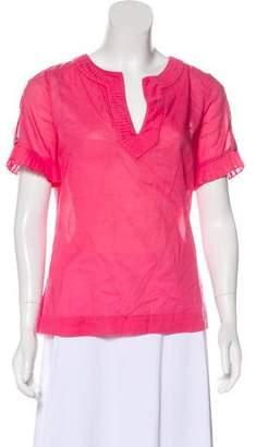 Tory Burch Short Sleeve Pleat Accented Top