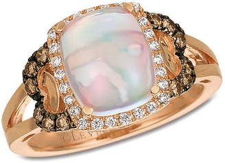 LeVian CORP Grand Sample Sale by Le Vian Neopolitan Opal and Chocolate & Vanilla Diamonds Ring in 14k Strawberry Gold