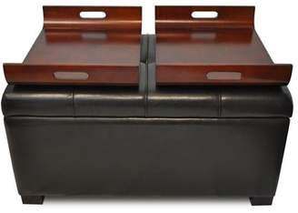 Faux Leather Storage Ottoman Shopstyle